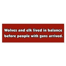 Wolves and Elk Bumper Car Sticker