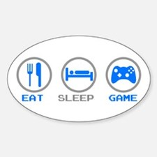 Eat Sleep Game Oval Stickers
