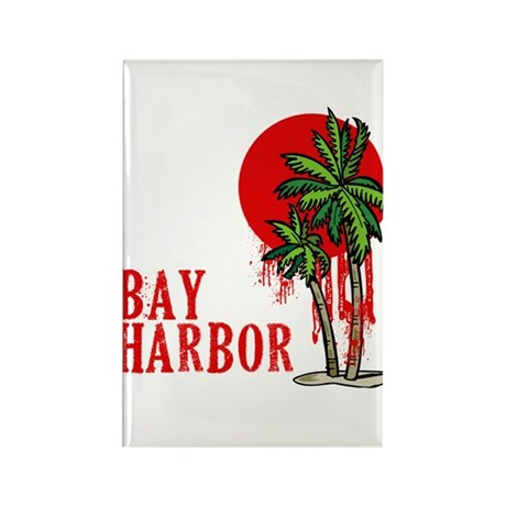 Bay Harbor with Palm Tree Rectangle Magnet (100 pa
