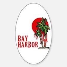 Bay Harbor with Palm Tree Oval Bumper Stickers