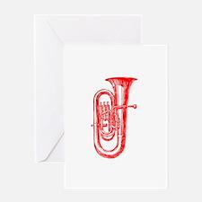 Red Tuba Greeting Card