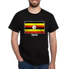 Uganda Flag (Front) Black T-Shirt