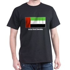 United Arab Emirates Flag (Front) Black T-Shirt