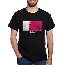 Qatar Flag (Front) Black T-Shirt