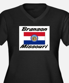 Branson Missouri Women's Plus Size V-Neck Dark T-S