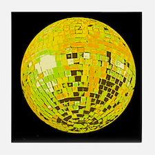 Lime Disco Ball Tile Coaster