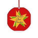 Star World's Best Teacher Ornament (Round)