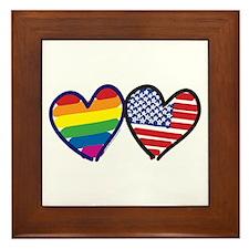 Patriotic Rainbow Hearts Framed Tile