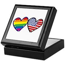 Patriotic Rainbow Hearts Keepsake Box
