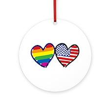 Patriotic Rainbow Hearts Ornament (Round)
