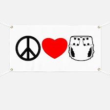 Peace, Love, Cloth Banner