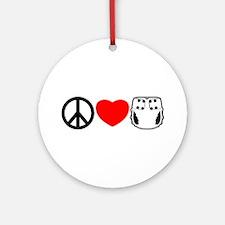 Peace, Love, Cloth Ornament (Round)