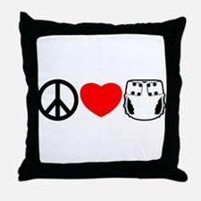 Peace, Love, Cloth Throw Pillow