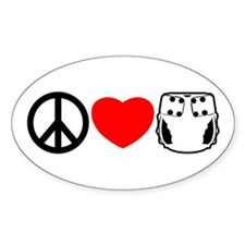 Peace, Love, Cloth Oval Decal
