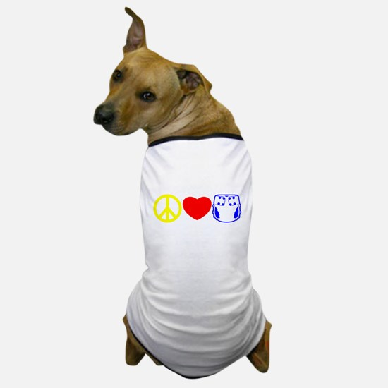 Peace, Love, Cloth Primary Dog T-Shirt