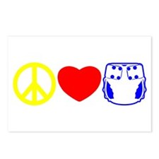 Peace, Love, Cloth Primary Postcards (Package of 8