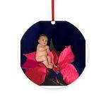 Poinsettia Flower Baby Ornament (Round)