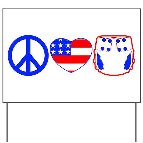 Peace, Love, Cloth Yard Sign