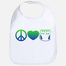 Peace, Love, Cloth Blue/Green Bib