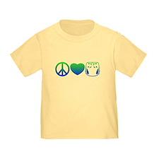 Peace, Love, Cloth Blue/Green T