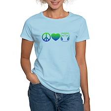 Peace, Love, Cloth Blue/Green T-Shirt