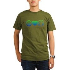 Peace, Love, Cloth Blue/Green T-Shirt