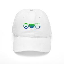 Peace, Love, Cloth Blue/Green Baseball Cap