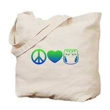 Peace, Love, Cloth Blue/Green Tote Bag