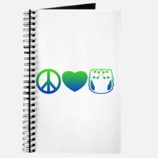 Peace, Love, Cloth Blue/Green Journal