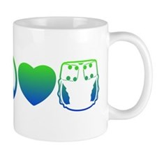 Peace, Love, Cloth Blue/Green Mug