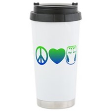 Peace, Love, Cloth Blue/Green Travel Mug