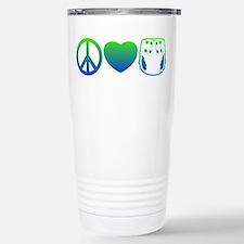 Peace, Love, Cloth Blue/Green Travel Mug