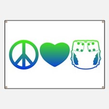 Peace, Love, Cloth Blue/Green Banner