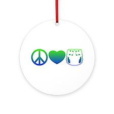 Peace, Love, Cloth Blue/Green Ornament (Round)