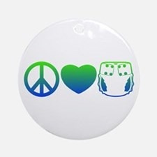 Peace, Love, Cloth Blue/Green Ornament (Round)
