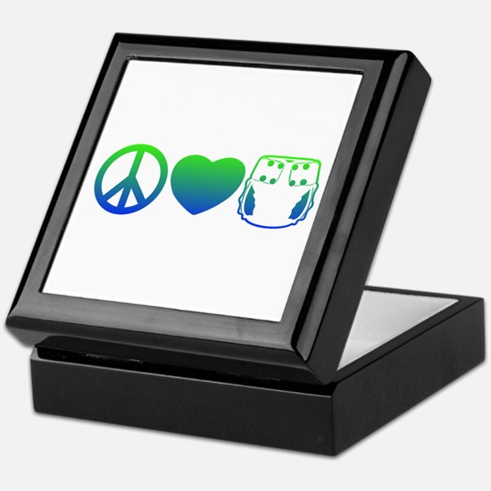 Peace, Love, Cloth Blue/Green Keepsake Box