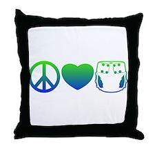 Peace, Love, Cloth Blue/Green Throw Pillow
