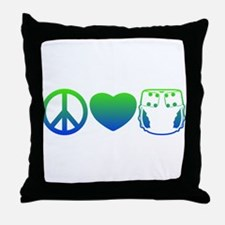 Peace, Love, Cloth Blue/Green Throw Pillow