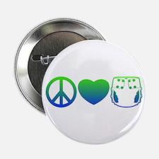 "Peace, Love, Cloth Blue/Green 2.25"" Button"