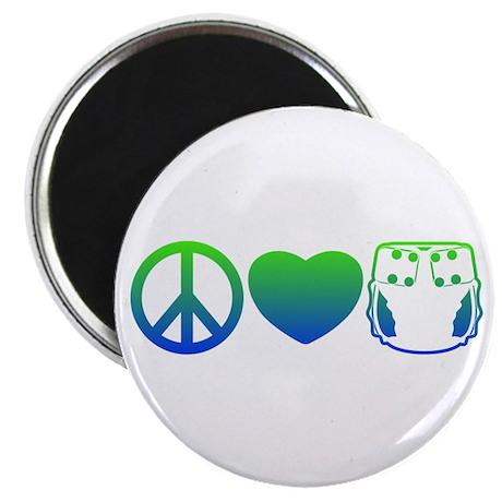 Peace, Love, Cloth Blue/Green Magnet
