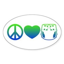 Peace, Love, Cloth Blue/Green Oval Decal