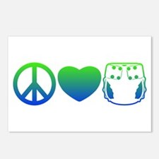 Peace, Love, Cloth Blue/Green Postcards (Package o