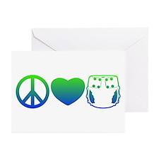 Peace, Love, Cloth Blue/Green Greeting Cards (Pk o
