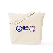 Peace, Love, Cloth Tote Bag