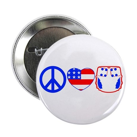"Peace, Love, Cloth 2.25"" Button"