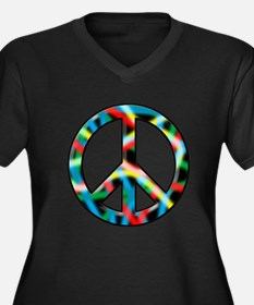 Neon peace Women's Plus Size V-Neck Dark T-Shirt
