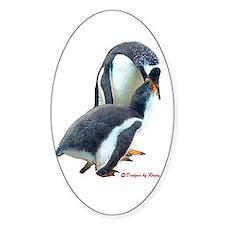 Gentoo Penguin feeding Oval Decal