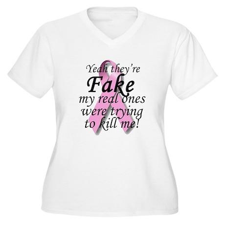 Fake Breasts Women's Plus Size V-Neck T-Shirt
