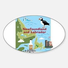 Newfoundland and Labrador Map Oval Decal