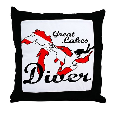 New Great Lakes Diver Throw Pillow